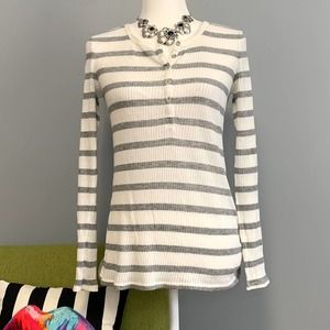 ATM White Grey Striped Long Sleeve Henley Top